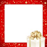 Christmas Invitation, Greeting or Gift card. Red frame  with gift box with golden bow. Template with  place for text Stock Images