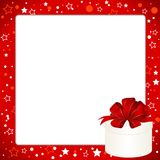 Christmas Invitation, Greeting or Gift card. Red frame  with gift box with red bow. Template with  place for text Royalty Free Stock Photos