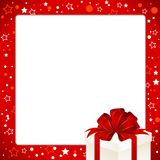 Christmas Invitation, Greeting or Gift card. Red frame  with gift box with red bow. Template with  place for text Royalty Free Stock Images