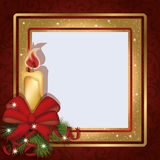 Christmas invitation photo frame scrapbooking. Vector stock illustration