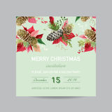 Christmas Invitation Pine and Poinsettia Card - Winter Background Stock Photography