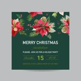 Christmas Invitation Poinsettia Card - Winter Background Stock Photos