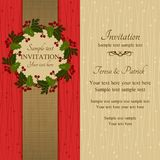 Christmas invitation, red and beige Stock Photos