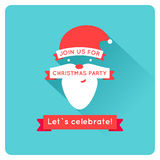 Christmas invitation with santa, flat vector Royalty Free Stock Photos