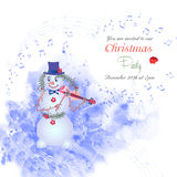 Christmas invitation with snowman-01 Stock Photography
