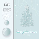 Christmas invite with bauble and Tree Royalty Free Stock Images