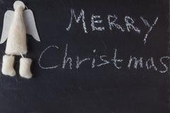 Christmas inviting card. Felt angel Royalty Free Stock Image