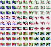 Christmas Island, Abkhazia, Ingushetia, Mordovia, Kuwait, England, Eritrea, Togo, Tanzania. Big set of 81 flags. Stock Images