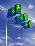 Christmas Island Flag. The flag of Christmas Island under a blue sky vector illustration