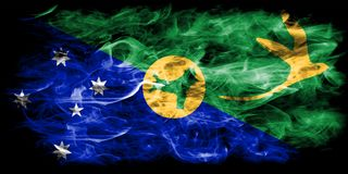Christmas Island smoke flag, Australia dependent territory flag.  Royalty Free Stock Photo