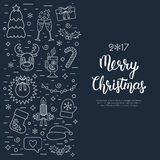 Christmas isolated concept, flyer, card with traditional attributes in line style with white hand lettering inscription.  Stock Photography