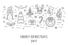 Christmas isolated concept from linear icons. Flat design. Vector. Illustration Royalty Free Stock Photos