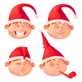 Christmas isolated elf on white background. Cute Christmas isolated elf on white background character facial expressions Vector illustration Stickers stock illustration