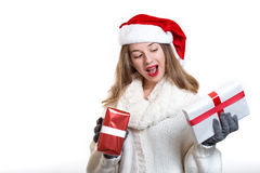 Christmas isolated portrait of a young woman holding gifts Stock Image