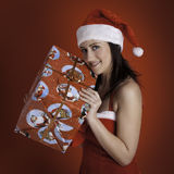 Christmas isolated woman Stock Images