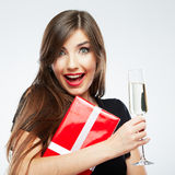Christmas isolated woman portrait hold wine glass. Royalty Free Stock Photography