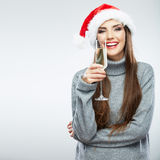 Christmas isolated woman portrait hold wine glass. Royalty Free Stock Photos