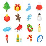 Christmas isometric 3d color icons set. 16 symbols on a white background vector illustration
