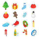 Christmas isometric 3d color icons set. 16 symbols on a white background stock illustration