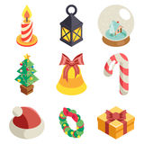 Christmas Isometric 3d Icons Set Flat Cartoon Design Vector Illustration Royalty Free Stock Image