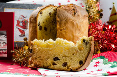 Christmas italian cake called panettone royalty free stock photo
