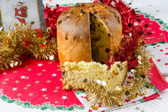 Christmas italian cake called panettone Stock Photography