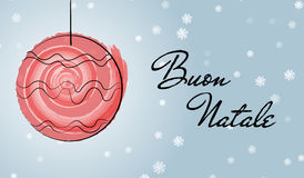 Christmas italian greetings card with watercolor brush stock illustration