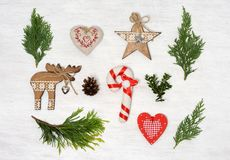 Christmas items arrangement. Arrangement of vintage christmas ornament Royalty Free Stock Image