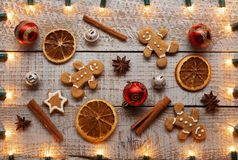Christmas items background with xmas lights frame royalty free stock images