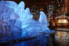 Ice sculptures on the streets of the city, before Christmas royalty free stock images