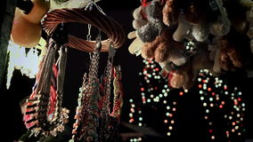 Christmas items on christmas marketplace stock video