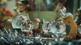 Christmas items and decorations at christmas market stock footage