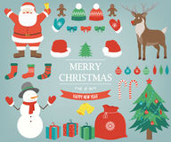 Christmas items, elements and decorations set. Hand drawn. Vector Royalty Free Stock Photo