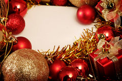 Christmas items in red and gold theme with white frame for write word Stock Photos
