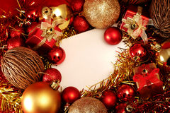 Christmas items in red and gold theme with white frame for write word Royalty Free Stock Photography