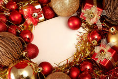 Christmas items in red and gold theme with white frame for write word Stock Image