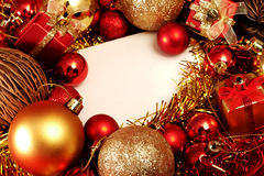 Christmas items in red and gold theme with white frame for write word Royalty Free Stock Images