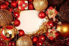 Christmas items in red and gold theme with white frame for write word Royalty Free Stock Image