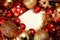 Christmas items in red and gold theme with white frame for write word Stock Photo