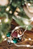 Christmas items set gifts boxes ribbons New Year royalty free stock photos