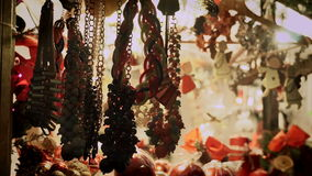 Christmas items and symbols at marketplace stock video footage