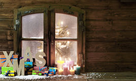 Christmas Items at Vintage Wooden Window Pane Stock Image