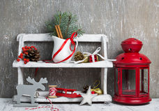 Christmas items in wooden shelf Royalty Free Stock Images