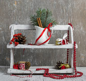 Christmas items in wooden shelf Royalty Free Stock Image