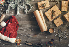 Christmas items on wooden table with copy space Royalty Free Stock Photos