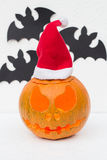 Christmas Jack O`Lantern and Bats Stock Photo