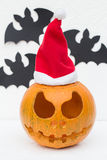 Christmas Jack O`Lantern and Bats Royalty Free Stock Image