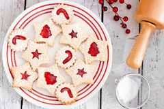 Christmas jam filled cookies overhead table scene Royalty Free Stock Photo