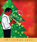 Christmas Jazz Trumpet. A jazz trumpet with a Christmas song, framed by a Christmas tree, ushers in the holidays in this fun, retro-modern illustration design Stock Images