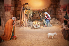 Christmas Jesus Birth Nativity. A Christmas nativity scene in a stable with baby Jesus in a manger, Mary and Joseph Stock Image